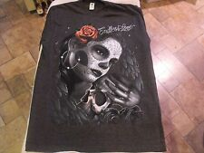 L Gray ENDLESS LOVE death mask, skull, rose, angel wings low rider, t-shirt.