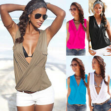 Sexy Women's Summer Beach Tops Blouse Sleeveless Deep V Neck Vest Casual T-Shirt