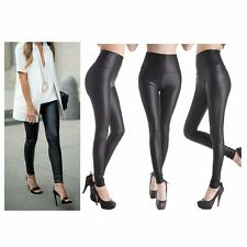Womens Sexy Leather Leggings Jeggings High Waist Wet Look Matt Ladies Colour PT