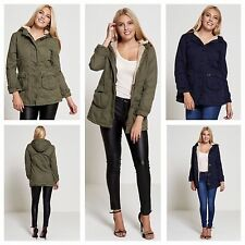 WOMENS JACKET LADIES BRAVE SOUL BUTTON DETAIL FLEECE LINED HOODED PARKA COAT