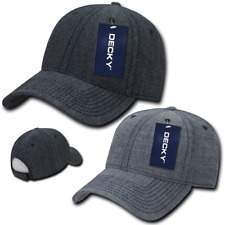 New DECKY Structured Washed Denim Low Crown Curved Bill Dad Hats Cap Caps