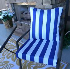 Blue & White Stripe Cushion ~ Pillow Set for Patio Dining Chair ~ Choose Size