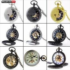 Antique Roman Windup Mens Pocket Skeleton Watch Classic Mechanical Chain Pendant