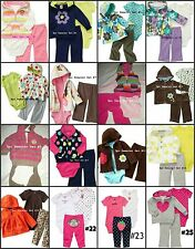 * NEW GIRLS 3PC CARTERS MONKEY FLOWERS WINTER Pants OUTFIT SET NB 3M 6M 24M