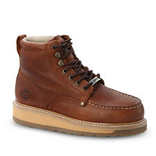 """Mens Light Brown 6"""" Mocc Toe Leather WP Work Boots BONANZA 612 Size 5-13 (D, M)"""