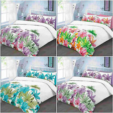 NEW LILY FLORAL DUVET QUILT COVER BEDDING SET SINGLE DOUBLE KING SUPERKING SIZE