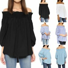 Women's Off Shoulder Plaid Shirt Casual Loose Solid Tops Clubwear Blouse Clothes