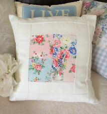 Handmade Cushion, Cath Kidston Patchwork And Embroidered Cream Fabric