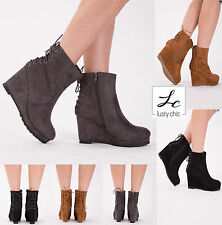 NEW WOMENS ANKLE CHELSEA BOOTS LADIES WEDGE PLATFORMS WINTER SHOES SIZE UK 3-8