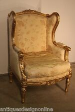Antique French Louis XVI bergere GOLD LEAF CARVED ARMCHAIR ornate gilt wing back
