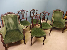 ANTIQUE VICTORIAN SALON SUITE - PAIR OF ARMCHAIRS AND 4 STAND CHAIRS