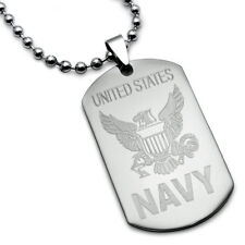 Stainless Steel Dog Tag Necklace with U.S.Navy Logo and Psalm 23:4 Inscription