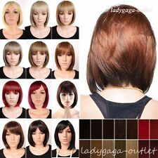 US Women Lady Bob Hair Wig Short Straight Cosplay Party Dress Full Wig Halloween