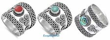 Sterling Silver 925 HANDMADE BALI DESIGN RINGS WITH STONE SIZES 5-13