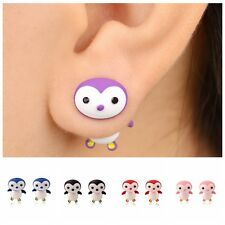 Stylish Women Metal Lively Small Penguin Polymer Clay Stud Pierced Earring Gift