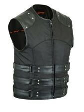 Men's Motorcycle Black Textile Leather  Motorcycle Riding Cruiser Style Vest
