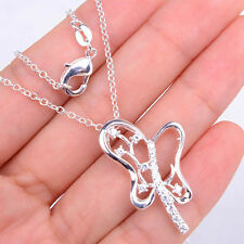 Ladies Unique 925 Sterling Silver Crystal Pendant + Chain Necklace ZXJH657