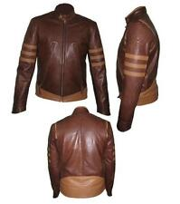 X-Men Wolverine Origins Bomber Style Brown Real Leather Motorcycle Jacket $99