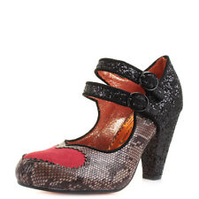 Womens Poetic Licence Bessie Love Black Glitter Mary Jane Court Shoes Shu Size