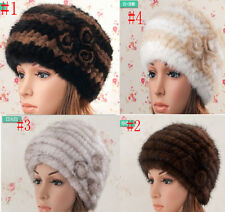 Top Sell Women Girl's Real Genuine Knit Mink Fur Multi Color Hat Cap