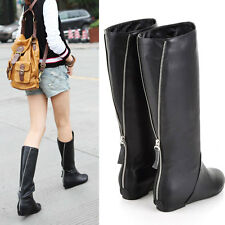 Womens Suede Leather Winter Mid-Calf Boots Flat Wedge Heels Metal Decro Shoes B6