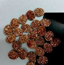 8x6mm - 15x20mm Natural Rose Gold Color Coated Flat Oval Druzy Loose Gemstone