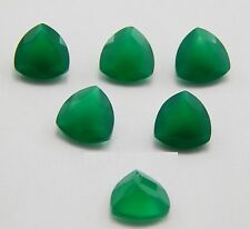 4mm - 20mm Natural Green Onyx Faceted Trillion Top Quality Onyx Loose Gemstone