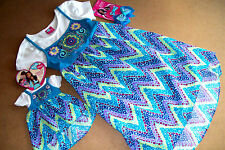 """WHAT A DOLL HIGH/LOW BLUE FLORAL DRESS ++ MATCHING DRESS FOR 18"""" DOLL +++ BOWS"""
