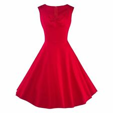 Vintage Style Swing Pinup Red Sleeveless Cocktail Party Housewife Causal Dress