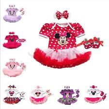 3PCS Baby Girl Minnie Mouse Romper Tutu Dress Headband Shoes Outfit Clothes Set