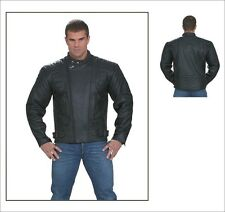 Mens Motorcycle Racer Style Black Cowhide Leather Jacket with Padding