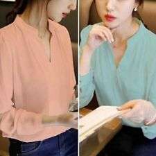 Women's Autumn Long Sleeve V-neck Loose Chiffon Tops T Shirt Casual Solid Blouse