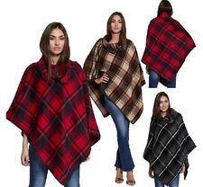 WOMENS LADIES CASUAL TARTAN CHECK TOGGLE COLLAR POINTED PONCHO CAPE LOOK JACKET