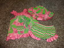 BOUTIQUE MUDPIE 9-12 GREEN PINK FLORAL TOP BLOOMERS HAT SET 0-12