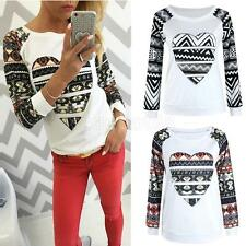 Womens Ladies Casual Long Sleeve Round Neck T Shirt Blouse