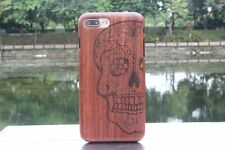 Skull Natural Rosewood Wood Wooden Hard Cover Case for iPhone 7 or 7 Plus