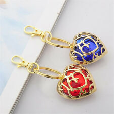 Luxury Vintage Crystal Heart Key Ring Necklace Pendant Gold Chain Palace Jewelry