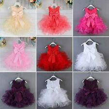 Towddler Kids Girls' Wedding Bridesmaid Party Bowknot Pearl Pageant Dress Hot