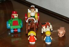 Fisher Price Little People 10 pc Tractor Horse & Cart  Milk Jug Cow Pig People