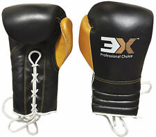 Boxing Gloves Cow Hide Leather Laces Training Mitts Fight Competition Handwraps