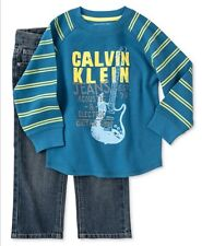 NWT Calvin Klein 2 PC Baby Boy Outfit Set Blue Thermal Tee Jeans 12-18-24 Mo