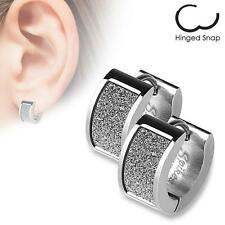 Pair of Stainless Steel Earrings Square White Sand Sparkle Hinged Hoop H114