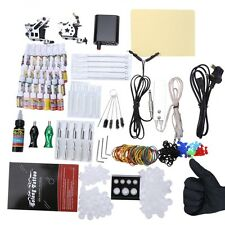 Complete Tattoo Kit 10 Wrap Coils Guns Machine Power Supply ICA