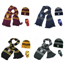 Harry Potter Scarf + Hat +Tie Gryffindor Ravenclaw Hufflepuff Slytherin Costumes