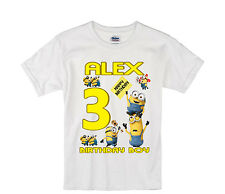 Minions birthday shirt Personalized Custom Name Age Kids T-Shirt