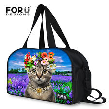 Cats Sport Training Duffle Gym Fitness Yoga Tote Trip Bag With Shoe Pocket Multi