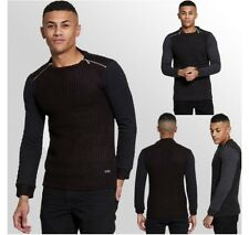MENS JUMPER CASUAL BRAVE SOUL ZIP DETAIL QUILTED SLEEVE CABLE KNITTED JUMPER TOP