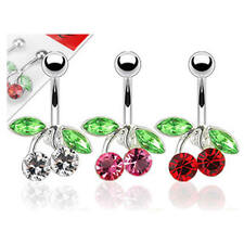 Crystal CZ Cherries Non-Dangle Belly Navel Ring Bar  - Pink Clear Red
