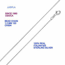 """Sterling Silver Bead Chain 1.2 TO 6 MM Bead 16"""" To 30"""" Length made in italy"""