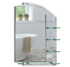 BATHROOM MIRROR Modern Stylish WITH SHELVES Frameless Wall Mount Plain Shelf